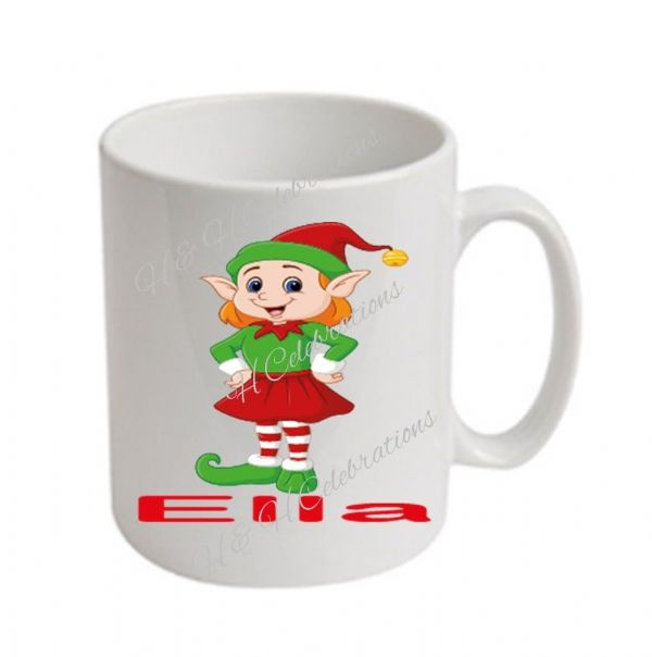Girl Elf  Christmas Personalised Mug